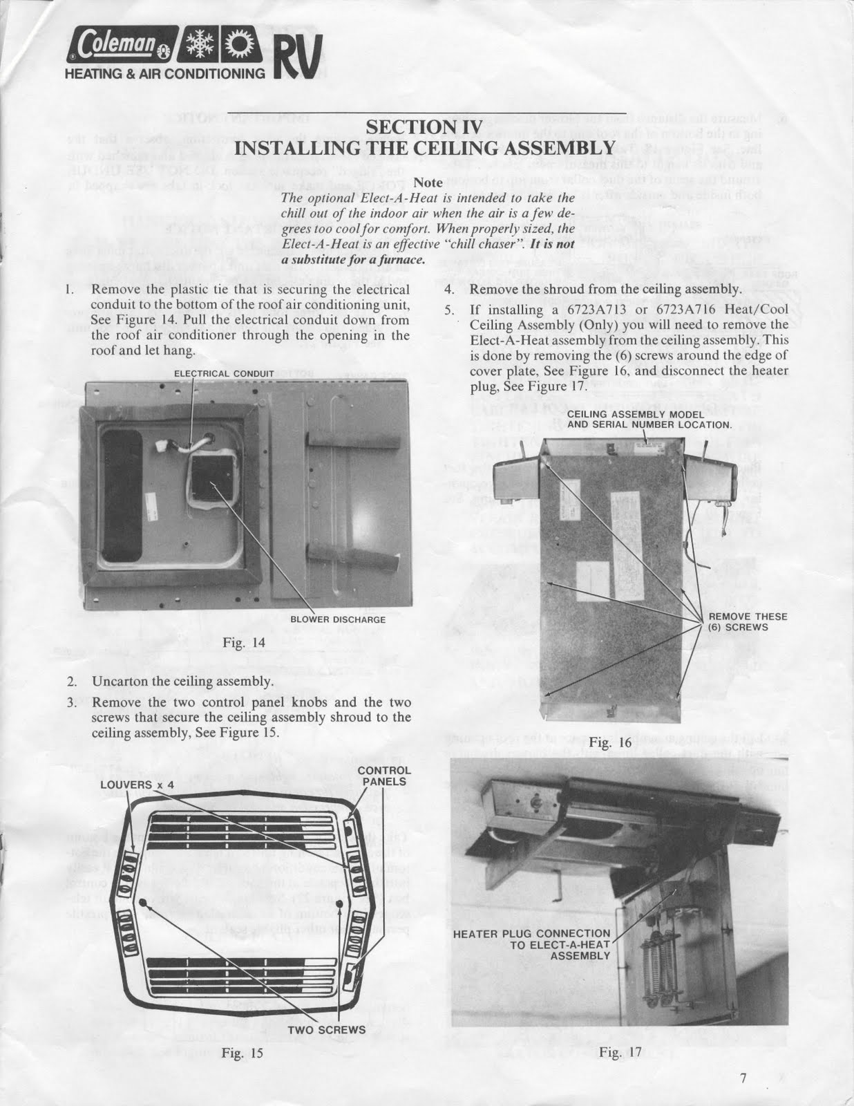 coleman rv air conditioner wiring diagram what is a space 1983 fleetwood pace arrow owners manuals: conditioners mach 1 & 3- march 1el 3 el